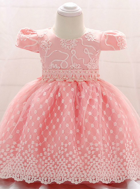 In Stock:Ship in 48 Hours Pink Cap Sleeve With Pearls Little Girl Dress