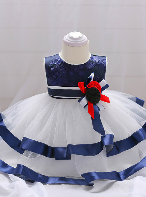 In Stock:Ship in 48 Hours White Tulle With Flower Little Girl Dress