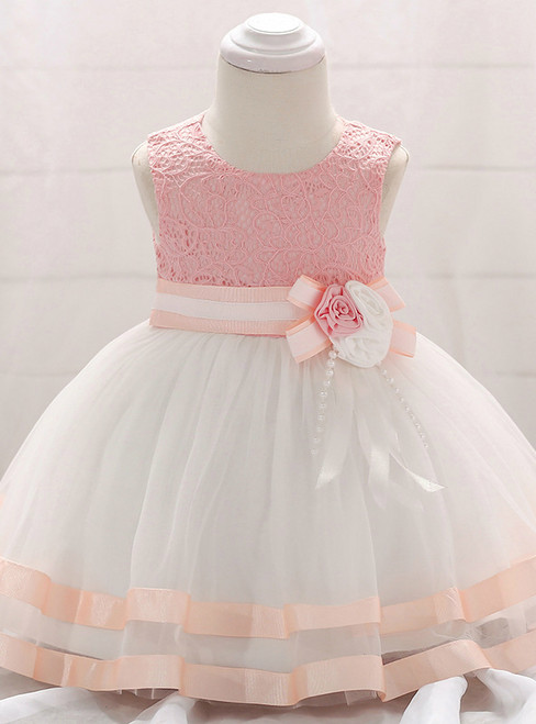 In Stock:Ship in 48 Hours White Tulle Pink Lace Little Girl Dress