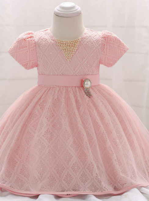 In Stock:Ship in 48 Hours Pink Lace Short Sleeve Little Girl Dress