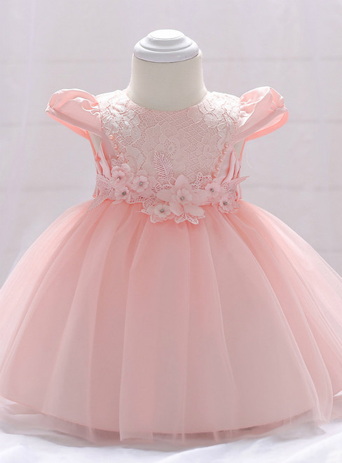 In Stock:Ship in 48 Hours Pink Cap Sleeve Lace Little Girl Dress