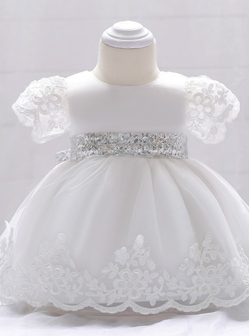 In Stock:Ship in 48 Hours White Short Sleeve Sequins Girl Dress