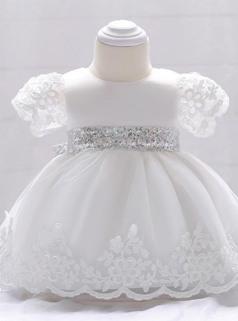 In Stock:Ship in 48 Hours White Short Sleeve Sequins Girl Dress