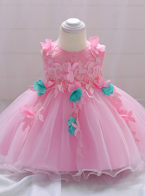 In Stock:Ship in 48 Hours Pink Tulle lace Flower Little Girl Dress