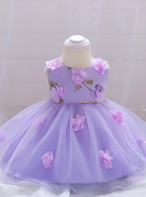 In Stock:Ship in 48 Hours Purple Tulle Flower Little Girl Dress