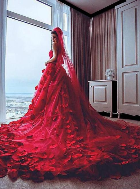Red Wedding Dress  Handmade Flowers Wedding Dress  Soft Tulle