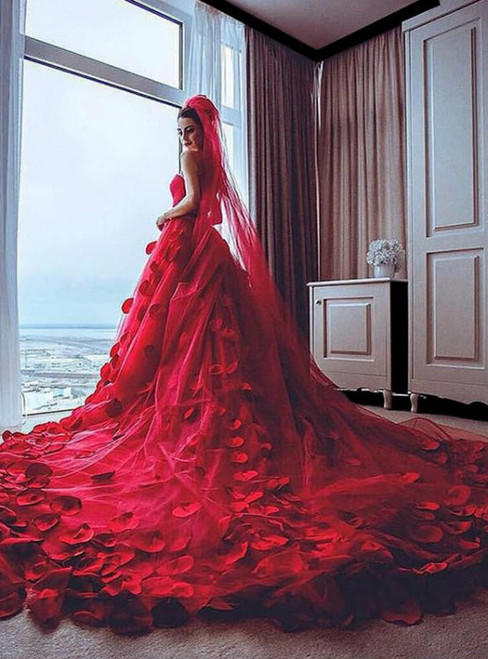 Red Wedding Dress  Handmade Flowers Wedding Dress  Soft Tulle