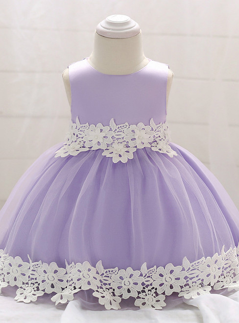 In Stock:Ship in 48 Hours Purple Tulle Appliques Little Girl Dress