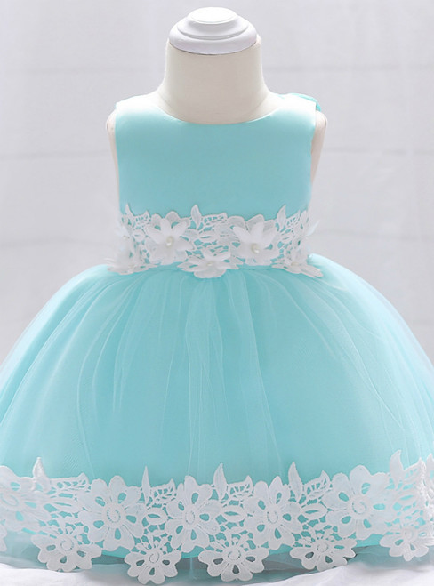 In Stock:Ship in 48 Hours Blue Tulle Appliques Little Girl Dress