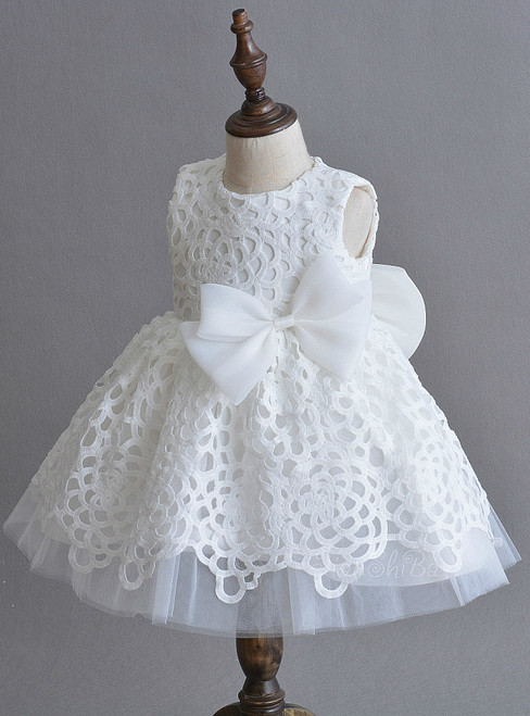 In Stock:Ship in 48 Hours White Lace Tulle Bow Little Girl Dress