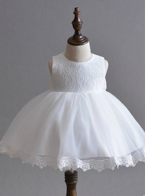 In Stock:Ship in 48 Hours Cute White Lace Tulle Little Girl Dress