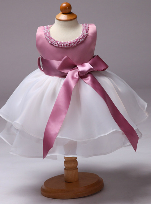 In Stock:Ship in 48 Hours Pink Satin White Organza Little Girl Dress