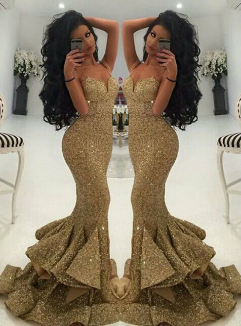 Mermaid Gold Sequins Spaghetti Straps Backless Prom Dress