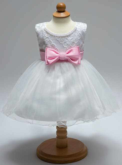 In Stock:Ship in 48 Hours White Tulle Pink Bow Little Girl Dress