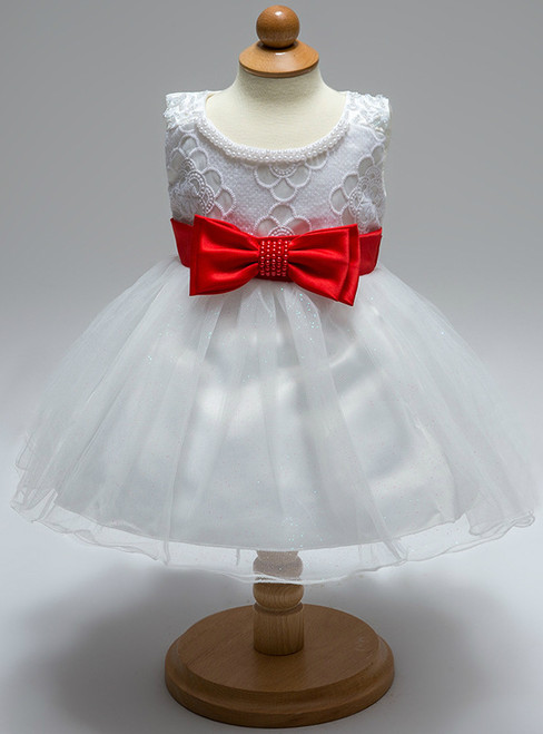 In Stock:Ship in 48 Hours White Tulle Red Bow Little Girl Dress