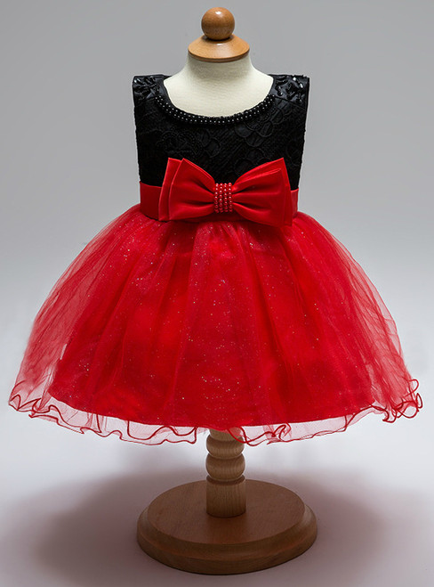 In Stock:Ship in 48 Hours Black Red Tulle With Bow Little Girl Dress