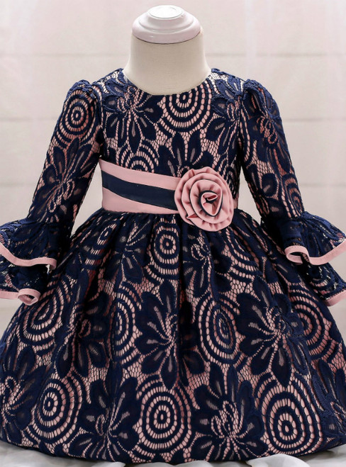 In Stock:Ship in 48 Hours Blue Lace Long Sleeve Little Girl Dress