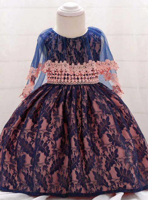 In Stock:Ship in 48 Hours Pink Tulle Blue Lace Little Girl Dress