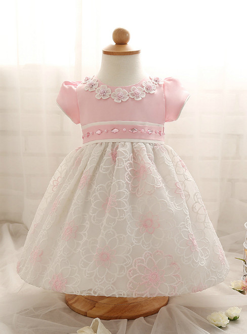 In Stock:Ship in 48 Hours Pink Lace Short Sleeve Litter Girl Dress