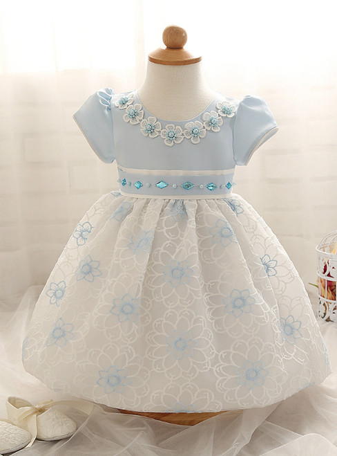In Stock:Ship in 48 Hours Blue Lace Short Sleeve Litter Girl Dress