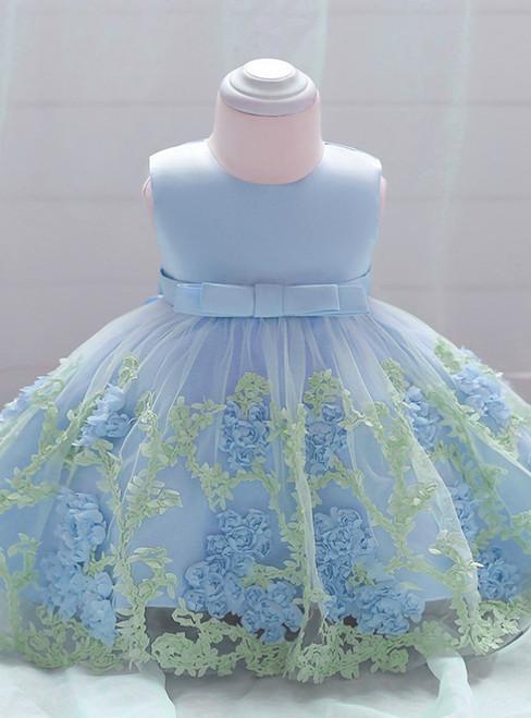 In Stock:Ship in 48 Hours Blue Tulle Flower Litter Girl Dress