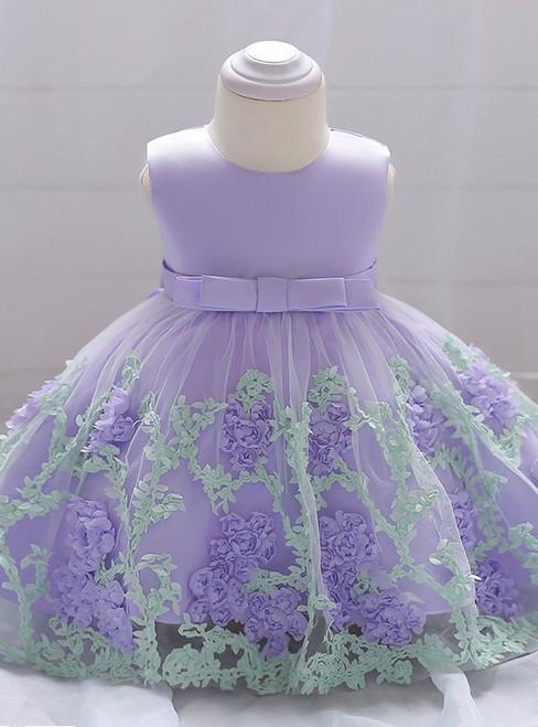 In Stock:Ship in 48 Hours Purple Tulle Flower Litter Girl Dress