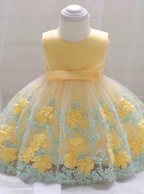 In Stock:Ship in 48 Hours Yellow Tulle Flower Litter Girl Dress