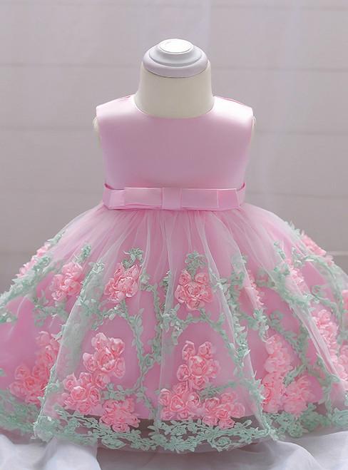 In Stock:Ship in 48 Hours Pink Tulle Flower Litter Girl Dress