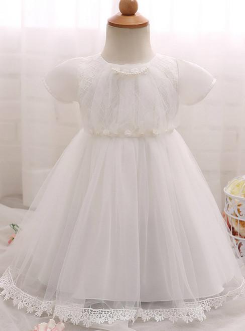 In Stock:Ship in 48 Hours White Short Sleeve Tulle Litter Girl Dress
