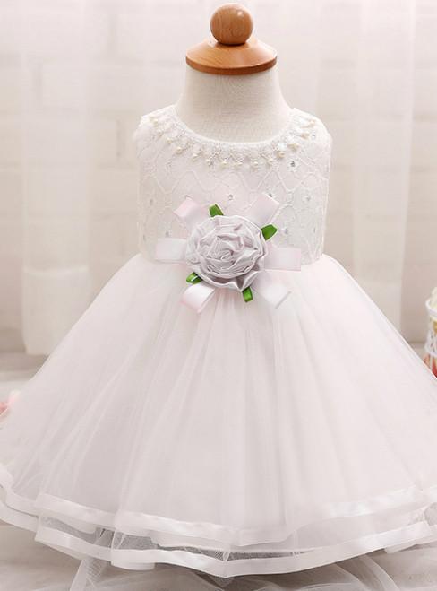 In Stock:Ship in 48 Hours White Tulle With Flower Litter Girl Dress