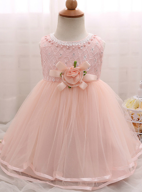 In Stock:Ship in 48 Hours Pink Tulle With Flower Litter Girl Dress