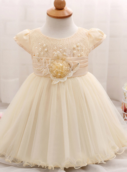 In Stock:Ship in 48 Hours Yellow Cap Sleeve Pearls Litter Girl Dress