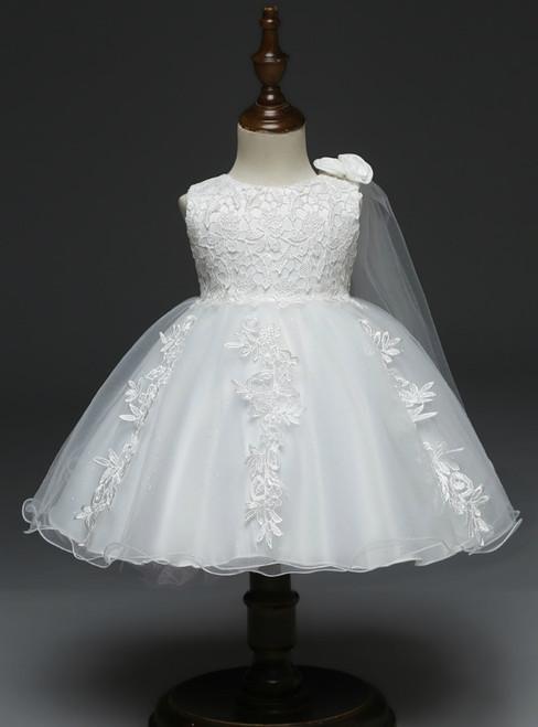 In Stock:Ship in 48 Hours White Tulle Appliques Litter Girl Dress
