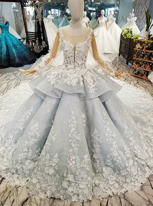 Blue Ball Gown Tulle Long Sleeve Appliques Flower Wedding Dress