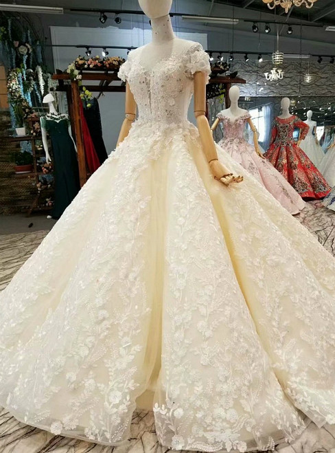 Ivory Ball Gown Off The Shoulder Backless Appliques Wedding Dress
