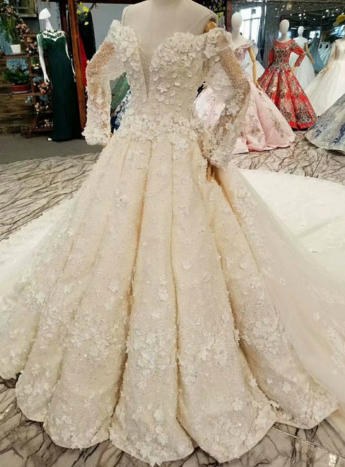 Ball Gown Long Sleeve Off The Shoulder Backless Appliques Wedding Dress
