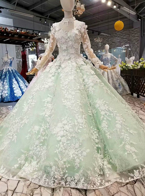 Ball Gown Long Sleeve High Neck Appliques Floor Length Wedding Dress