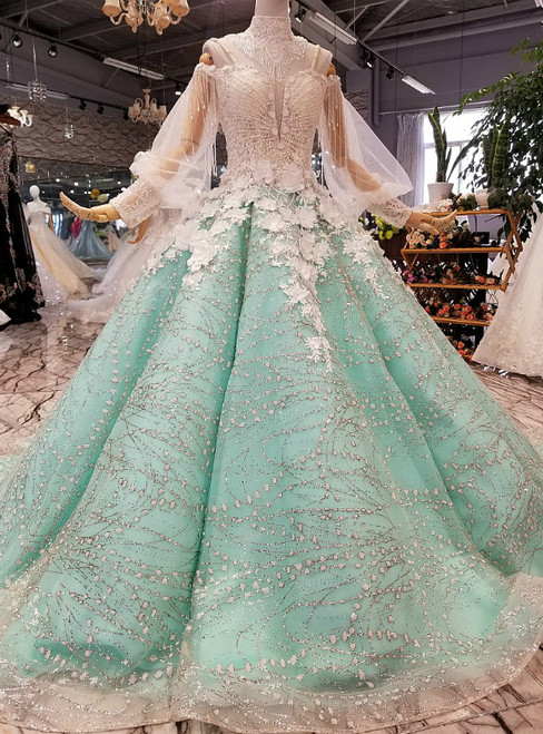 Green Ball Gown Long Sleeve Spaghetti Straps Sequins Wedding Dress