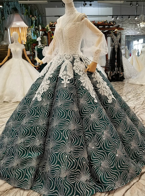 Dark Green Ball Gown Spaghetti Straps Long Sleeve Sequins Wedding Dress