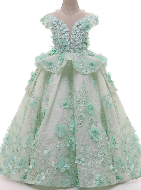 Mint Green Ball Gown Lace Short Sleeve Pearls Flower Girl Dresses