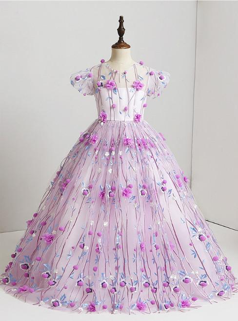 Purple Ball Gown Floor Length Tulle 3D Floral Flower Girl Dress