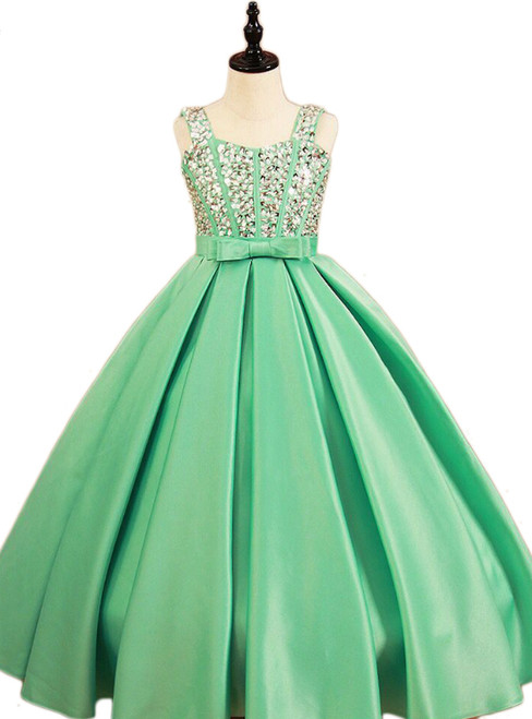 Ball Gown Spaghetti Straps Sweetheart Crystal Bow Sash Girl Dress