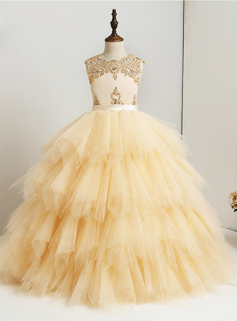 Ball Gown Tulle Lace Beaded Ruffles Floor Length Flower Girl Dress
