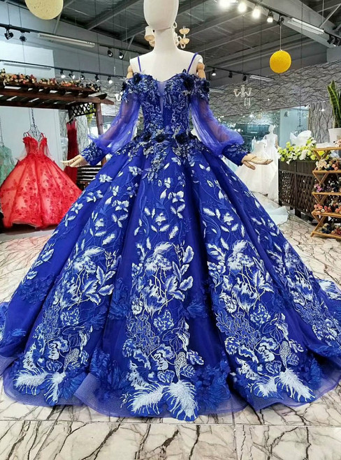 Blue Ball Gown Spaghetti Straps Long Sleeve Backless Wedding Dress