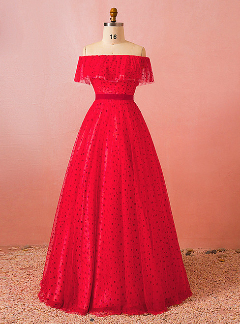 Plus Size Red Tulle Wave Point Off The Shoulder Floor Length Prom Dress