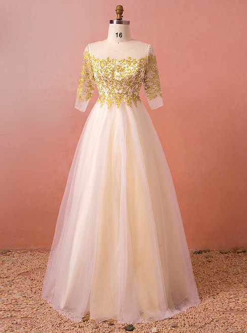 Plus Size Champagne Tulle Gold Lace Short Sleeve Prom Dress
