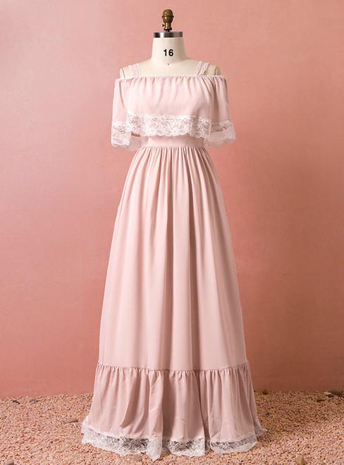 Plus Size Pink Chiffon Lace Straps Floor Length Prom Dress