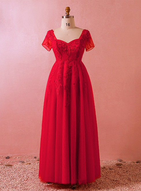 Plus Size Red Tulle Appliques Short Sleeve Floor Length Prom Dress