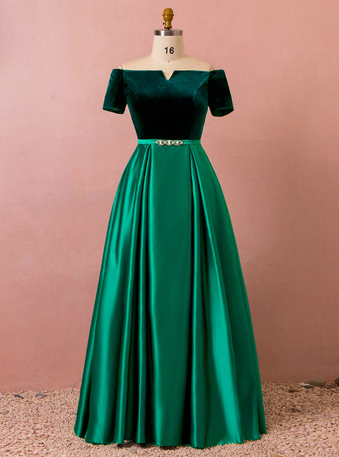 Plus Size Off The Shoulder Satin Velvet Short Sleeve Prom Dress
