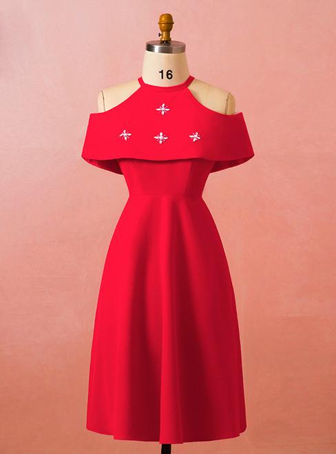 Plus Size Red Halter Short Satin Knee Length Prom Dress